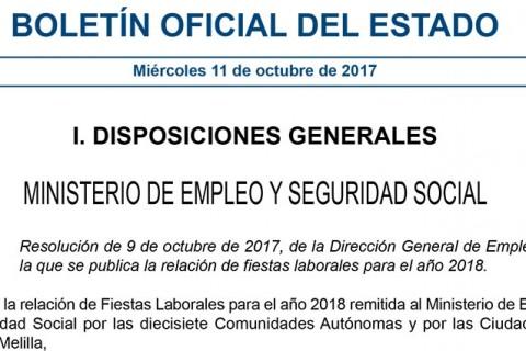 CALENDARIO LABORAL 2018 1 480x320 - Publicadas las fiestas laborales autonómicas para 2018
