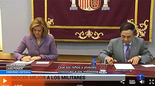 Fotograma Convenio Defensa ACADE TVE - Acade y el ministerio de Defensa firman un convenio para promover la cultura de paz y el trabajo de las Fuerzas Armadas en los colegios