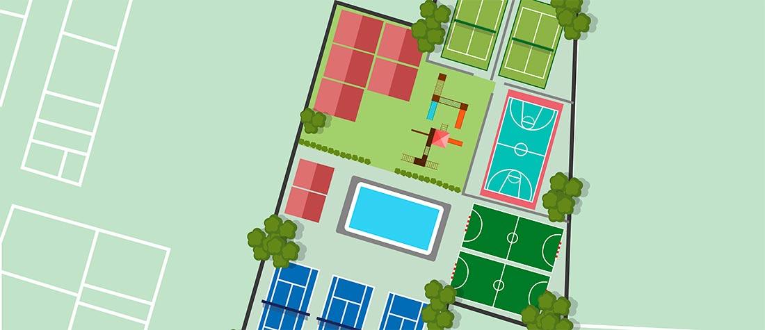 Plano Simulación Parcela Deportiva Colegio Camarena Canet - La escuela Guardelandia recibe el Sello Inclusivo