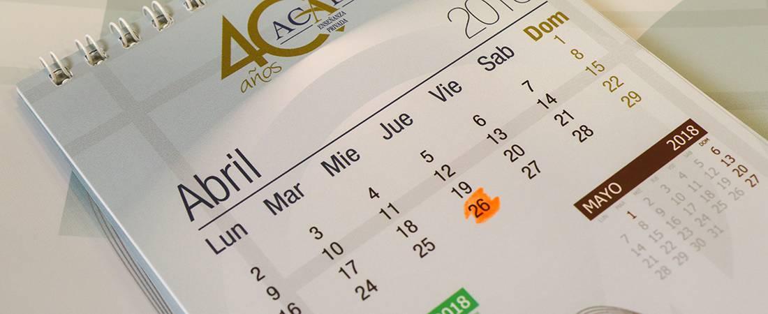 cabecera calendario 40 aniversario - Acompáñanos el 26 de abril. Celebra 40 años de la educación privada