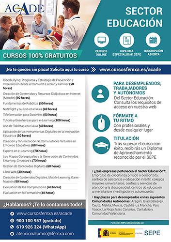 Cartel Formacion ACADE - Cursos gratuitos para profesionales del sector educativo