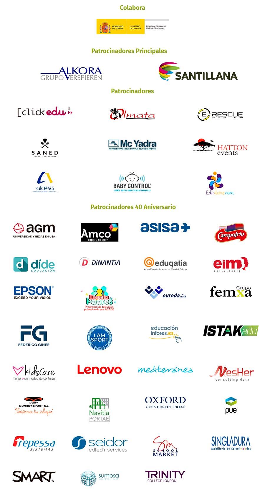 patrocinadores convencion 2018 noticia - Abierta la inscripción para la XIII Convención de Centros y Escuelas Infantiles de ACADE: La Enseñanza en el Tercer Milenio