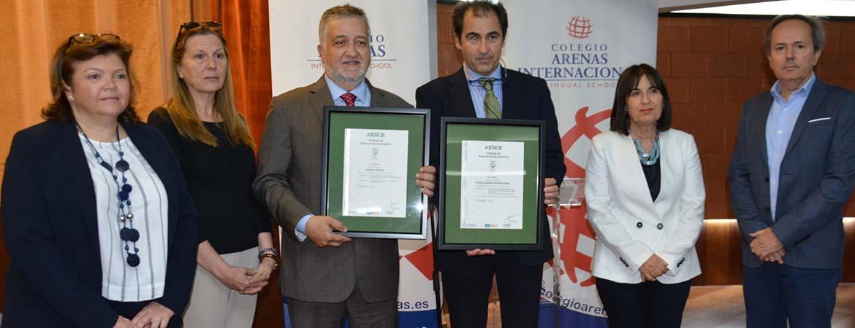 arenas calidad - Los colegios Arenas reciben la Certificación AENOR de Gestión Medioambiental ISO 14001