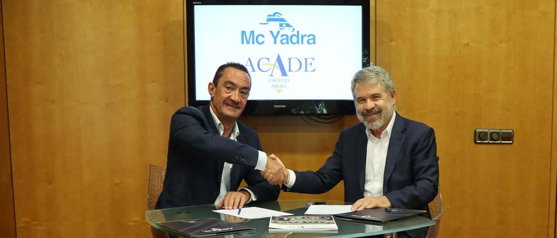 mcyadra - McYadra y ACADE renuevan su alianza. La identidad del colegio en buenas manos