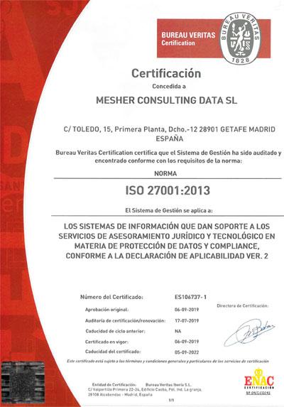 mesher veritas web - Mesher, empresa colaboradora de ACADE en Protección de Datos, certificada por Bureau Veritas Certification