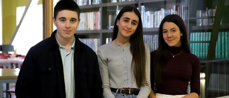 Pablo Carolina Alba ColexioPeleteiro - Veinte alumnos de los colegios Peleteiro y el portugués Do Ave participan en el programa de intercambio SAW