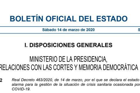 BOE A 2020 3692 1 480x320 - Real Decreto que regula el estado de alarma en España por el COVID-19