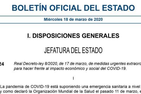 BOE Medidas Extraordinarias 1 480x320 - Real Decreto de medidas extraordinarias para hacer frente al impacto económico y social del COVID-19