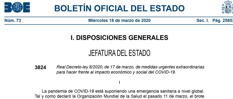 BOE Medidas Extraordinarias 1 - Real Decreto que regula el estado de alarma en España por el COVID-19