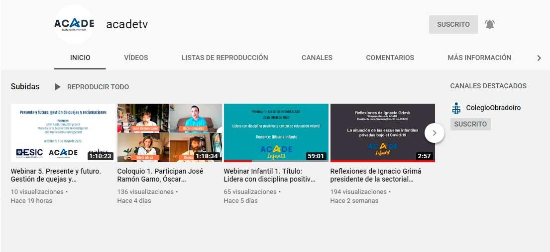 youtube acade - Reapertura de los centrosycómo implementar modelos de formación online, en el webinar del día 22
